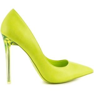 Neon Lime Green Closed Toe Pump Heels